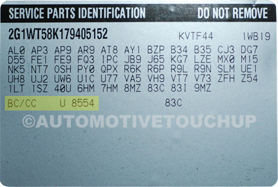 Buick Paint Code Service Parts Identification Label