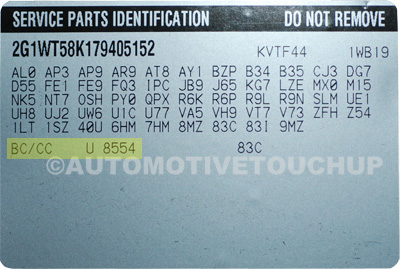 Geo Paint Code Service Parts Identification Label