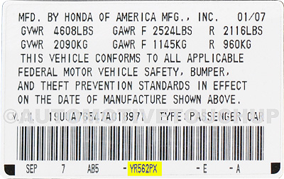 Honda Paint Code Door Tag