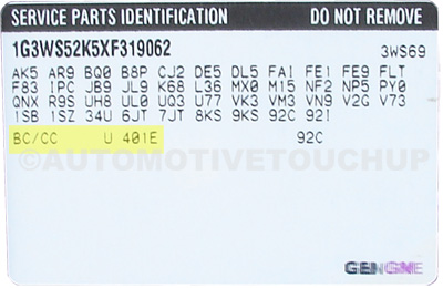 Cadillac Deville Paint Code Location