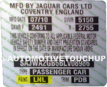 Jaguar Paint Code Door Tag