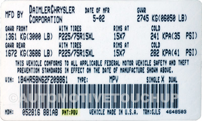 Jeep Paint Code Label