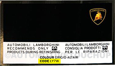 Lamborghini Paint Code Label