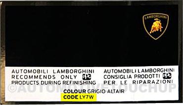 lamborghini paint code locations touch up paint automotivetouchup. Black Bedroom Furniture Sets. Home Design Ideas