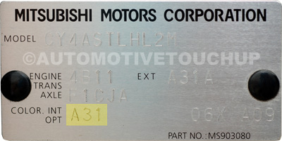 Mitsubishi Paint Code Locations Touch Up Paint