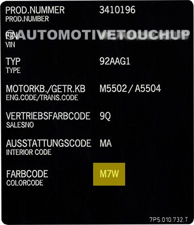 Porsche Paint Code Label