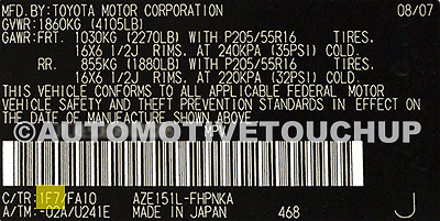 Scion Paint Code Tag