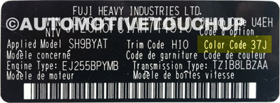 Subaru Touch Up Paint Code Door Tag