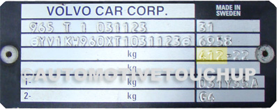 Volvo Paint Code ID Tag
