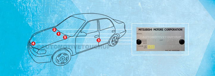 Mitsubishi paint code location