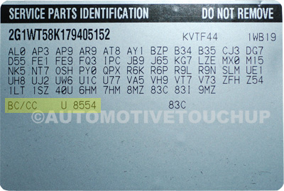 Cadillac Paint Code Service Parts Identification Label