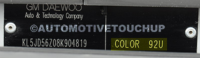 Daewoo Paint Code Example
