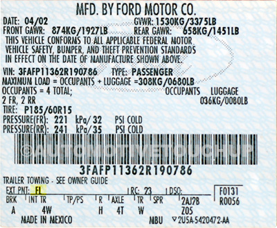 Ford Paint Codes