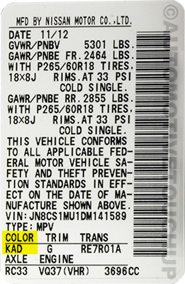 Infiniti Paint Code Locations Touch Up Paint