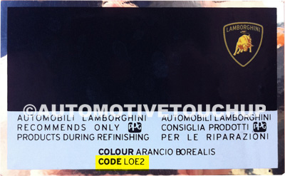 Lamborghini Paint Code Locations Touch Up Paint Automotivetouchup