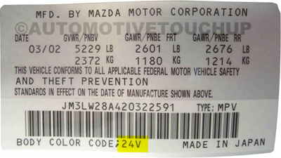 Mazda Paint Code Door Tag